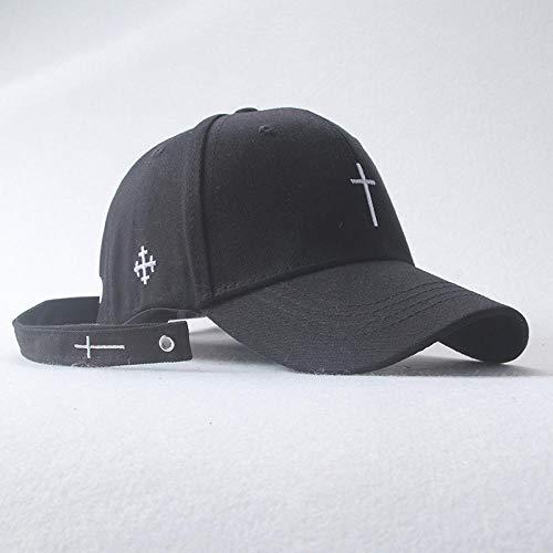 DELLA Women Men Cross Belt Embroidery Baseball Cap Solid Letter Hat Unisex Adjustable Personality Hip Hop Snapback Caps -Black