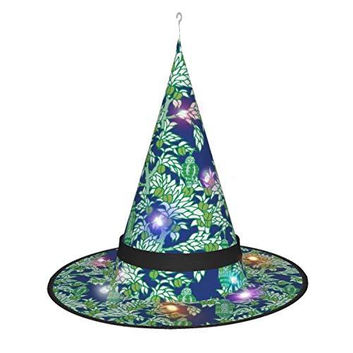 leyhjai Linterna marroqu Verde Colgante Iluminado Brillante Bruja Sombreros Accesorio de Disfraz de Halloween para Fiesta de Halloween Masquera