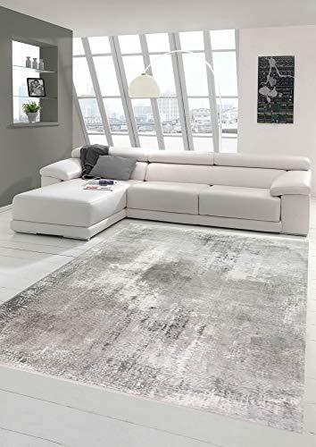 Wollteppich Teppich modern Wohnzimmerteppich Wolle abstrakt in grau Größe 120x170 cm