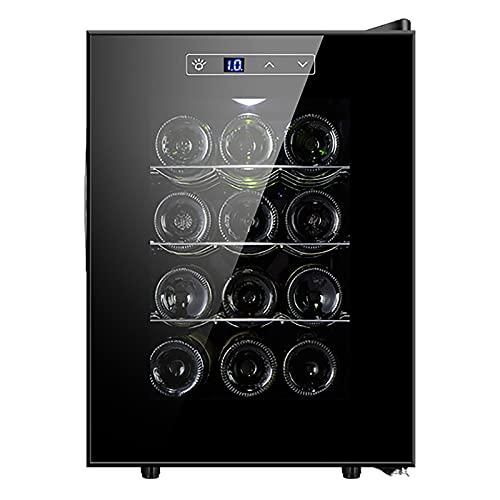 Nevera Vinos Vinoteca de 12 Botellas Luz LED Display Digital 3 Estantes Doble Aislamiento Zonas de Temperatura de 11-18 Grados Baldas Acero Inoxidable