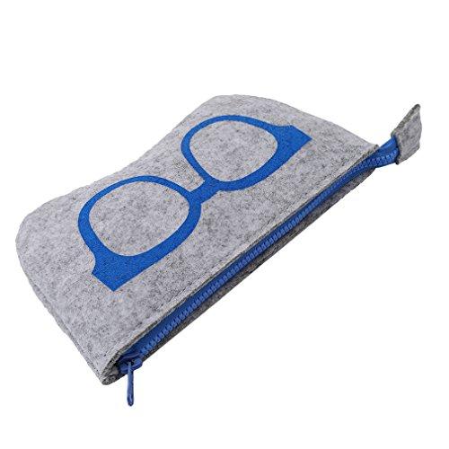 Yeucan - Custodia per occhiali da sole, con cerniera, in morbido feltro, per uso domestico, da viaggio, colore: blu