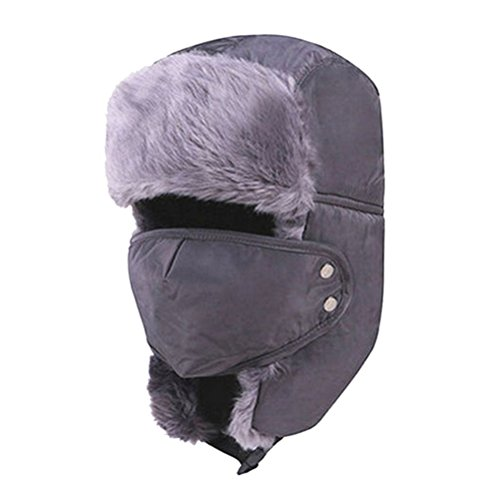 ROSENICE Ushanka Cappello Cappelli di Sci di Earflap Aviatore Ushanka Trapper con Maschera cap Hood(Grey)