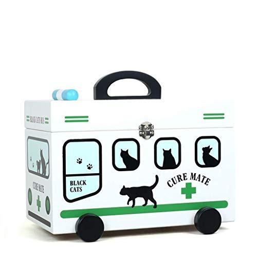 GOXJNG Medizin Box Set Haushalt Medizin Box Medical Lagercontainer aus Holz Erste-Hilfe-Kit Apotheke for Home Reise Arbeitsplatz Büro 32x18x16cm