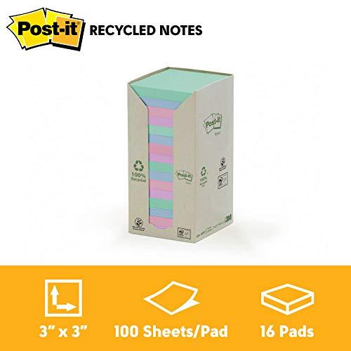 Post-It 91413 Foglietti Adesivi, Torre da 16 Blocchetti, Carta Riciclata al 100%, 76 mm x 76 mm, Multicolore
