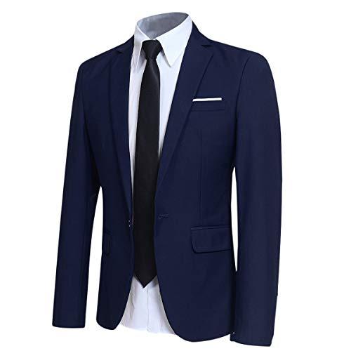 Men' Slim Fit One Button Blazer Jacket Casual/Party Sport Coat Blue