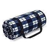 HUTHIM Picknickdecke 200x200 cm, Picknickdecke Wasserdicht Outdoor Wärm Isoliert Wasserdichtem Boden, Faltbar Picknickdecke Waschbar mit Tasche und Schultergurt (Blaues-Weiß-Gitter)