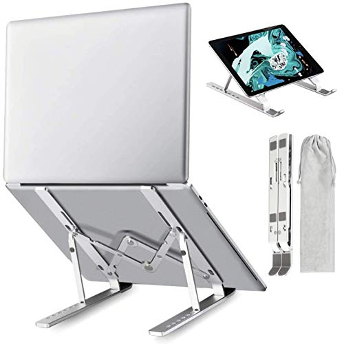 Laptop Stand, Portable Laptop Holder Riser Computer Tablet Stand, Adjustable Aluminum Ergonomic Foldable Desktop Holder Compatible with MacBook,iPad, HP, Dell and More 10-15.6 Inches Laptops