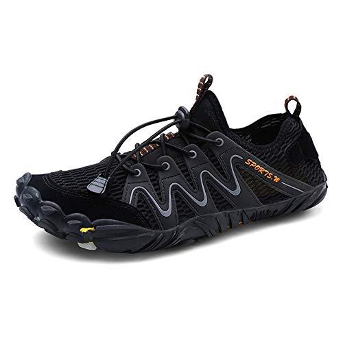 Parcclle 1718 - Zapatillas de playa para hombre y mujer, secado rápido, para surf, natación, descalzo, color Negro, talla 46 EU