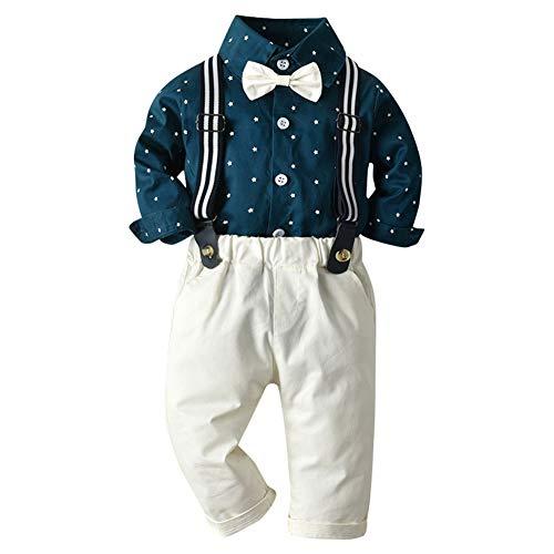 IBAKOM Nouveau-né Bébé Garçons Gentleman Tuxedo Suit Chemises nœud Papillon + Pantalon à Bretelles Fête Officielle Anniversaire Mariage Vêtements de Noël Bleu foncé 3-4 Ans