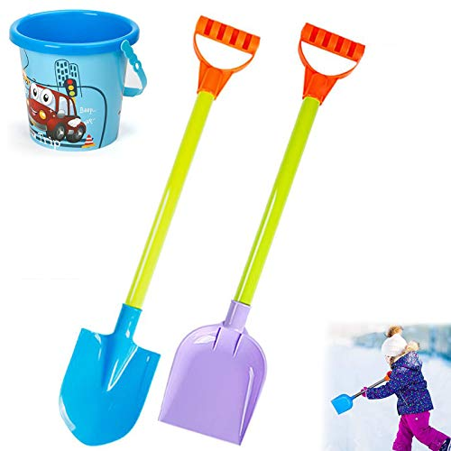 NFGS 2PCS Kids Snow Shovel, Kids Gardening Snow Shovel Driveway Car Home Garage, 18-Inch Perfect Sized Snow Shovel for Kids Age 3 to 12, Safer Than Metal Snow Shovels (B1 2PCS+Barrel)