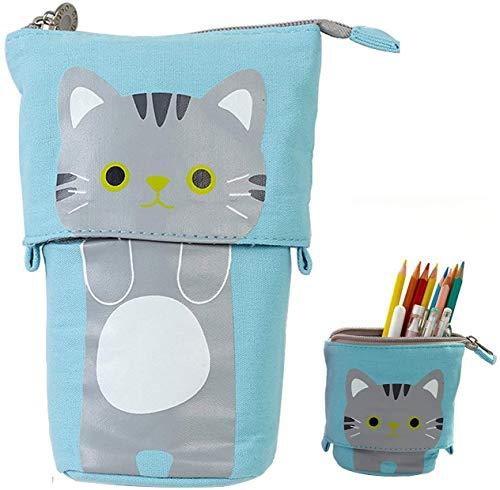 Transformer Stand Store Pencil Holder Canvas Cute Pencil Case Zipper Cat Pencil Box Boys&Girls School Supplies Pen Bags Gifts (Sky Blue)