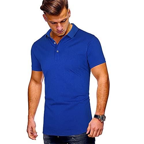 T-Shirt Hombre Básico Tapeta con Botones Cuello Kent Hombre Polo Verano Transpirable Color Sólido Manga Corta Hombre Shirt Cómoda Negocios Hombre Shirt Ocio D-Blue 2 S