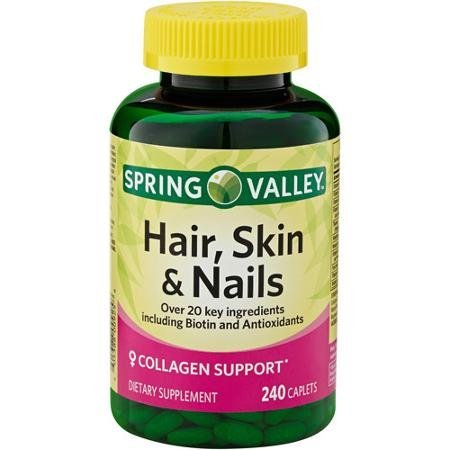 Spring Valley - Hair, Skin & Nails, Over 20 Ingredients Including Biotin and Collagen, 240 Caplets