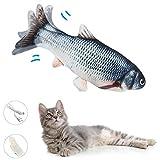 Zibnwee Katzenspielzeug, Elektrische Fische Katze, USB Katze Spielzeug Fisch für Katze und Kätzchen, Simulation Plush Fisch, Kissen Kauen Spielzeug für Katze für Katze, Kitty