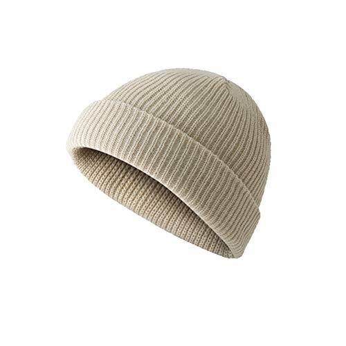 Macabolo Winter Herbst gestrickte Mütze Mütze Skullcap Sailor Cap Manschette Brimless Mütze Hut für Männer Frauen