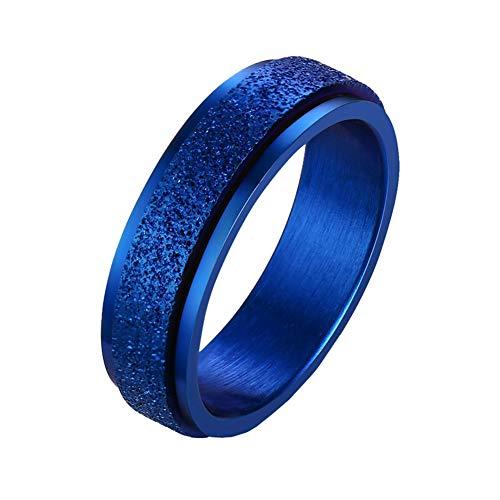 PAURO Mujer Hombre Acero Inoxidable Acabado con Chorro de Arena Rotativo Suerte Anillo Compromiso Promesa Banda de Boda Azul Tamaño 19
