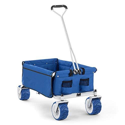 Waldbeck The Blue Bollerwagen (faltbar, 70 kg BZW. 90 l, Breiträder 10 cm) blau