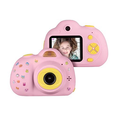Funkprofi Kinderkamera 3 Jahre HD 1080P Mini Kamera für Kinder 2,0 Zoll Farbdisplay Digitalkamera 8 Megapixel Dual-Kamera mit Aufkleber Geschenk für Jungen Mädchen - pink