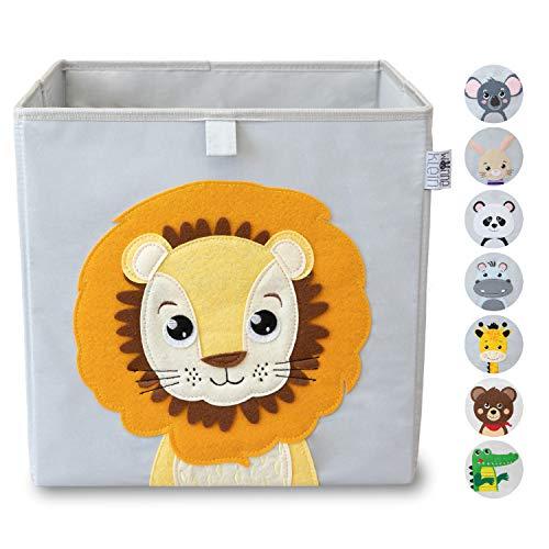 wonneklein Aufbewahrungsbox Kinder I Spielzeugkiste Kinderzimmer I Spielzeug Box (33x33x33 cm) zur Aufbewahrung I Ordnungsbox I Kallax Box I grau mit Tier Motiv als Deko (Ludwig Löwenherz)