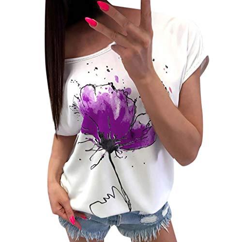 Longra T-Shirt da Donna a Manica Corta Camicia Donna T-Shirt in Cotone con Stampa Maglia Maglietta Donna Manica Corte Pizzo estive Ragazza Top Vintage Tumblr Magliette