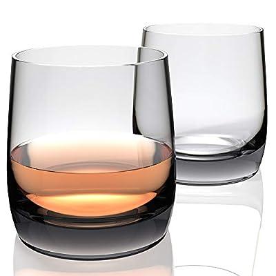 Amesser Whiskey Glasses Old Fashioned 11 - Ounce Set of 2, Lead·Free Handblown Crystal Whisky Tumbler for Bourbon, Scotch, Liquor, Irish, Vodka, Cognac,Wine HW007 Loop (Smokey Gray)