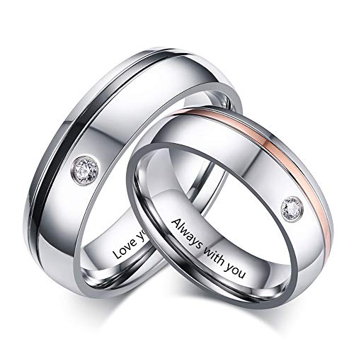 Molywoo Personalized Mens and Womens Couple Rings Set Promise Rings for Her...