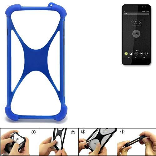 K-S-Trade® Handyhülle Für Shift Shift4 Silikon Schutz Hülle Cover Case Bumper Silikoncase TPU Softcase Schutzhülle Smartphone Stoßschutz, Blau (1x),