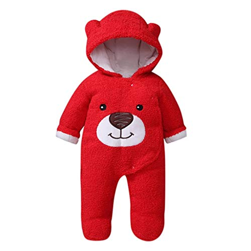 Shan-S Infant Jumpsuit,Winter Toddler Baby Girls Boys Bear Hooded Padded Cotton Button Clothes Warm Thick Snowsuit Hoodie Coat Baby Romper(0-12 Months)