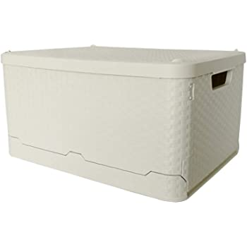 Glenmore Caja de Almacenaje Cubo Plastico Plegables Cesta con Tapa Ratan Efecto 45 x 34 x 24 Centímetros Beige: Amazon.es: Hogar