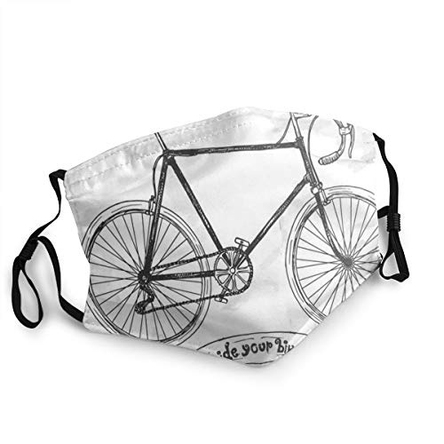 Anti Pollution Dust Unisex Mouth Face Cover Washable and Reusable Ride Your Bike Lettering With Nostalgic Mountain Bike Hand Drawn Sketchy with Adjustable Earloop