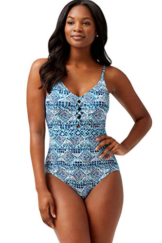 Tommy Bahama Caledon Sea Floral Isles Lace Up Plunge One Piece Swimsuit Size 4 Blue