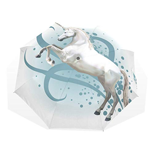 ISAOA Paraguas de Viaje automático, Paraguas Plegable, Unicornio Ilustración, Resistente al Viento, Ultra Ligero, protección UV, Paraguas Compacto para fácil Transporte para Mujeres y Hombres