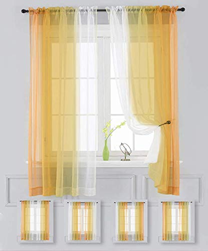 """Sheer Curtain Yellow Ombre Drapes 2 Panels 96 inch Long Voile Rod Pocket Bedroom Living Room 63 72 84 inches Long(Yellow,52""""x96"""")"""