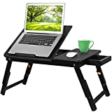 Bamboo Laptop Desk,Serving Bed Tray Breakfast Table with Folding Legs,Multifunctional Table with Cup Holder,Floor Desk Notebook Stand with Tilting Top Storage Drawer,Black (Black)
