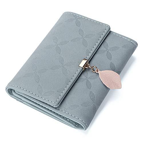 JOSEKO Billetera Corta con Volantes para Mujer, Billetera de Cuero PU, Billetera pequeña con Ranura para Tarjeta, Billetera Femenina Elegante#Neblina Azul