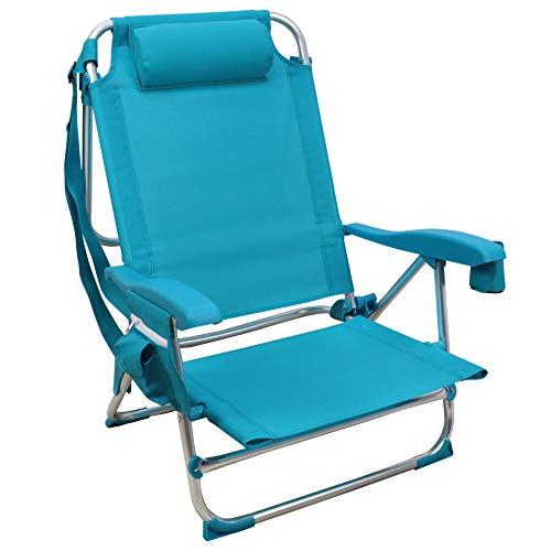 Silla Playera, 5 Posiciones, Silla Plegable para Playa, Jadín, Camping, Azul (1 Unidad, Azul Claro)