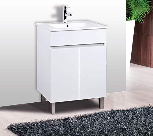 CTESI Mueble de baño con Lavabo de Porcelana - con 2 Puertas - El Mueble va MONTADO - Modelo Luup (60 cms, Blanco)