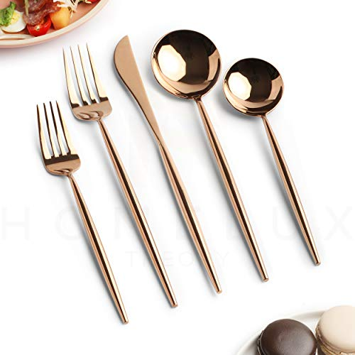 Homelux Theory 18/10 Rose Gold Flatware Rose Gold Silverware Set Stainless Steel Copper Flatware Cutlery Set| 5-piece Adaline Royal Modern| BEST Birthday Wedding Gift (4 sets, Rose Gold mirror polish)