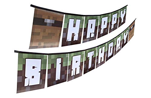 PRE-Assembled Time-Saving Happy Birthday Party Banner to Use As Party Decorations Indoors Or Outside, Great As Pixel Miner or Video Gaming Birthday Party Supplies