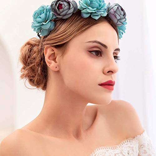 Urieo Flower Headband Rose Hair Wreath Flowers Crown Wedding Headpiece for Women and Girls (blue)