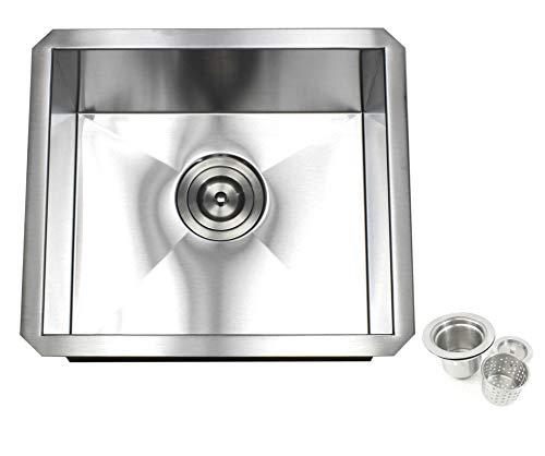 Zero Radius Contemporary Design 16 Gauge Durable Undermount Single Bowl Stainless Steel Kitchen Sink/Bar Prep Sink With Lift Out Basket Strainer (17 Inch)