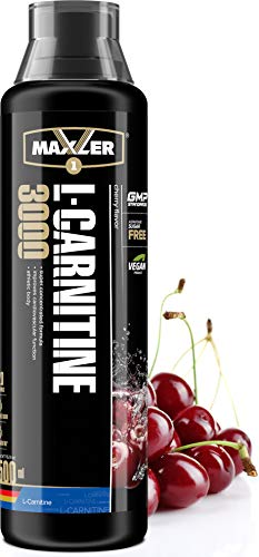 Maxler Veganes L-Carnitine 3000 Liquid - Hochdosiertes Diätetisches Getränk beliebt in Fettverbrennung-Diät, Definitionsphase - 3000mg von L-Carnitin pro Portion - Kirsche - 500ml