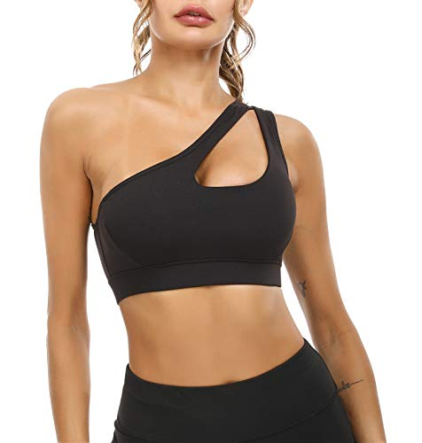 Sykooria Women Sexy Off Shoulder Bra Sports Bras Workout Running Yoga Tank Tops Black