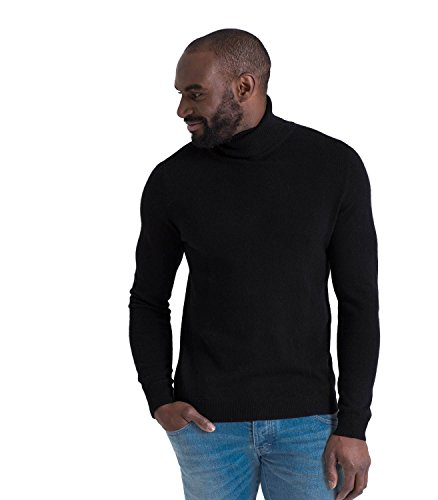 Woolovers Mens Cashmere and Merino Turtle Neck Sweater Black XL