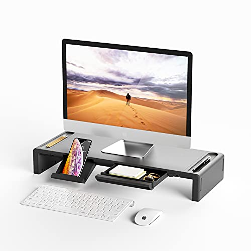 Monitor Stand Riser, OImatser Foldable Computer Monitor Riser, Adjustable Height Computer Stand and Storage Drawer & Pen Slot, Phone Stand with Computer, Desktop, Laptop, Save Space (Black)
