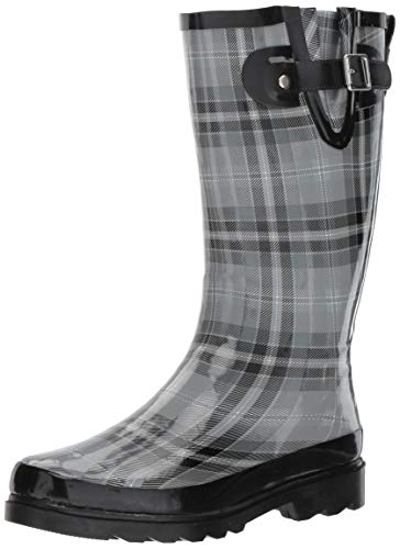 Western Chief Women's Printed Tall Waterproof Rain Boot, Charcoal, 8
