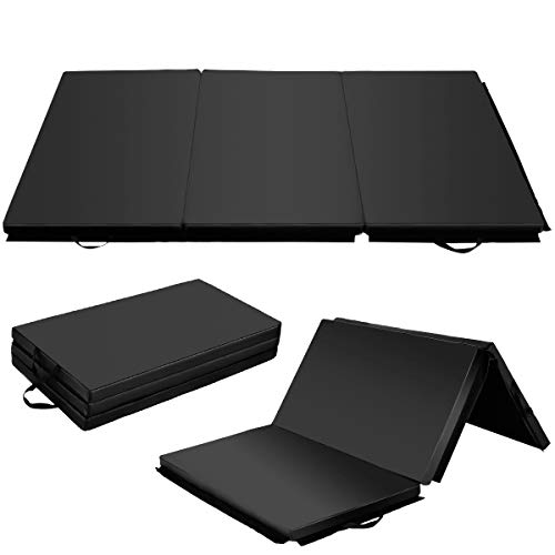 Giantex 6' x 4' Tri-Fold Gymnastics Mat Thick Folding Panel For Gym Fitness Exercise (Black)