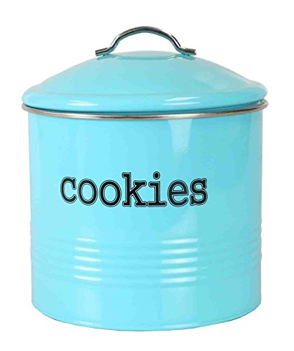 Home Basics Tin, Turquoise Cookie Jar
