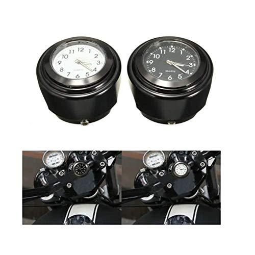 Viviance Reloj de Cuarzo para Motocicleta 7/8'Reloj de Montaje en Manillar de Bicicleta Cromado Impermeable Reloj Luminoso de Aluminio Universal para Harley Suzuki Yamaha Kawasaki etc - Negro