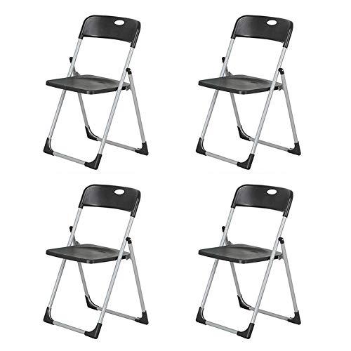 GPWDSN klapstoel, bezoekersstoel, plastic zitje, kantoor conferentie, stalen frame, bureaustoelen, comfortabele rugleuning, zwart, maat: 2 stuks